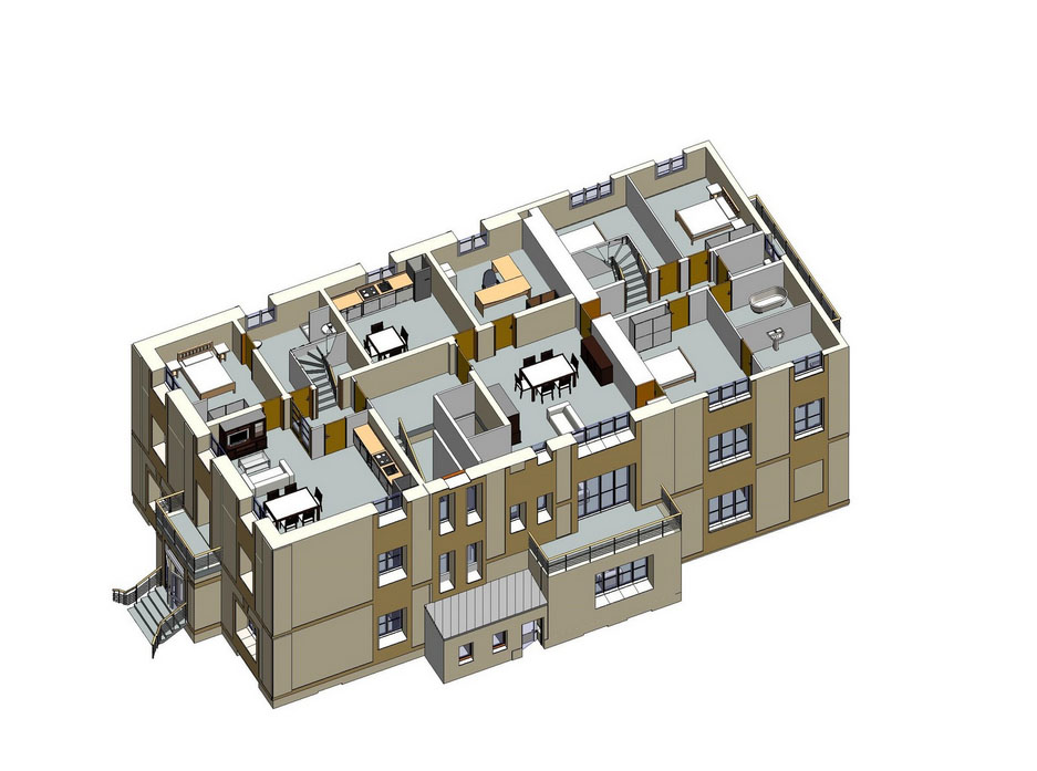 Plans 3D R+2 Projet appartements Soissons