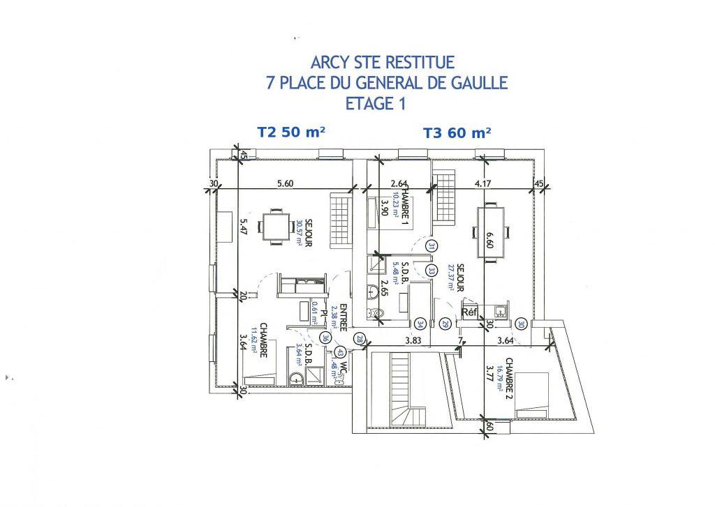 plan etage 1 vefa Arcy Sainte Restitue