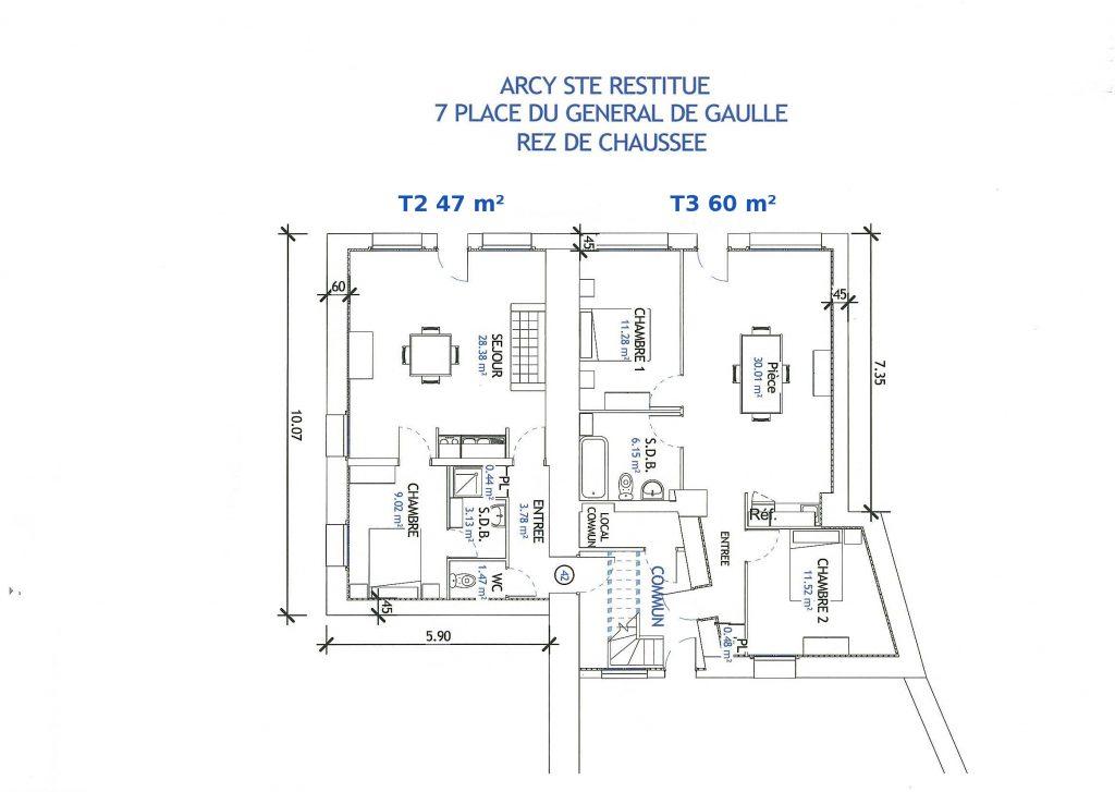 plan rdc vefa Arcy Sainte Restitue