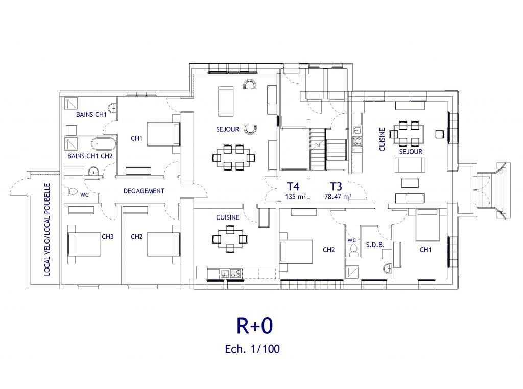 PROJET D'AMENAGEMENT appartements rdc Soissons
