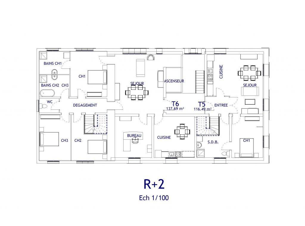 PROJET D'AMENAGEMENT appartements R+2 Soissons